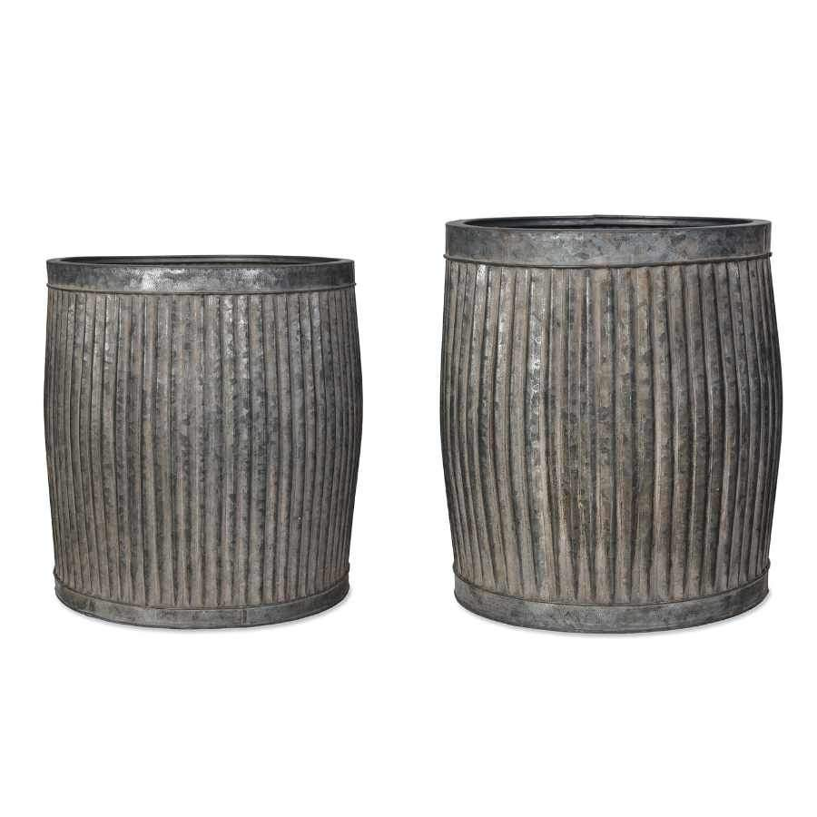 Rustic Distressed Fluted Planter Set - 2