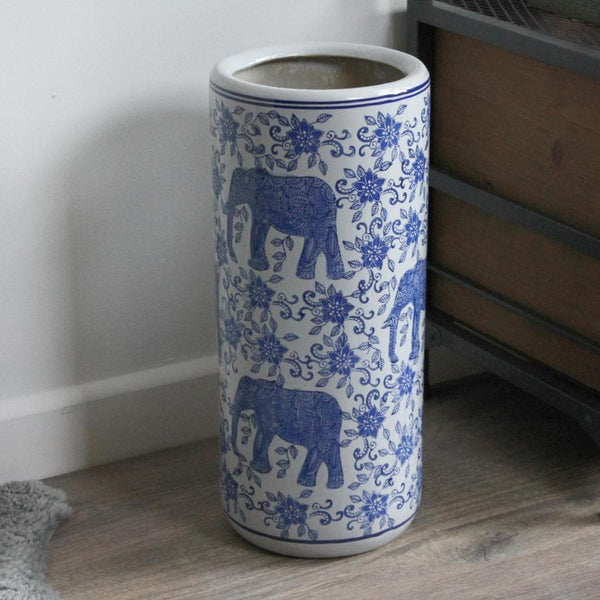 Blue and White Ceramic Umbrella Stand at the Farthing 5