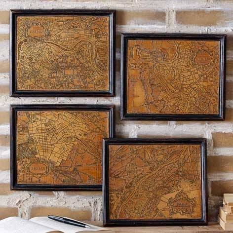 Travelled Cities Antiqued Style Framed Printing Plates Wall Art Set - The Farthing
