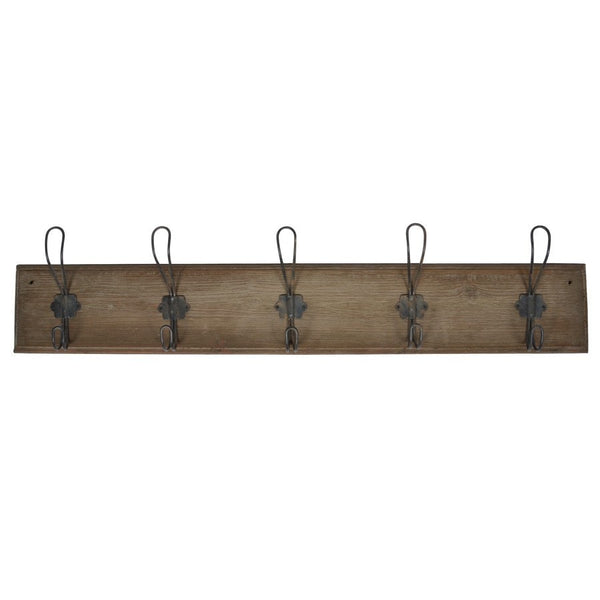 Rustic Wooden School Coat-hanger with 5 hooks - The Farthing