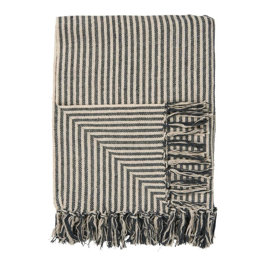 Vintage Black Stripe Cotton Throw at the Farthing