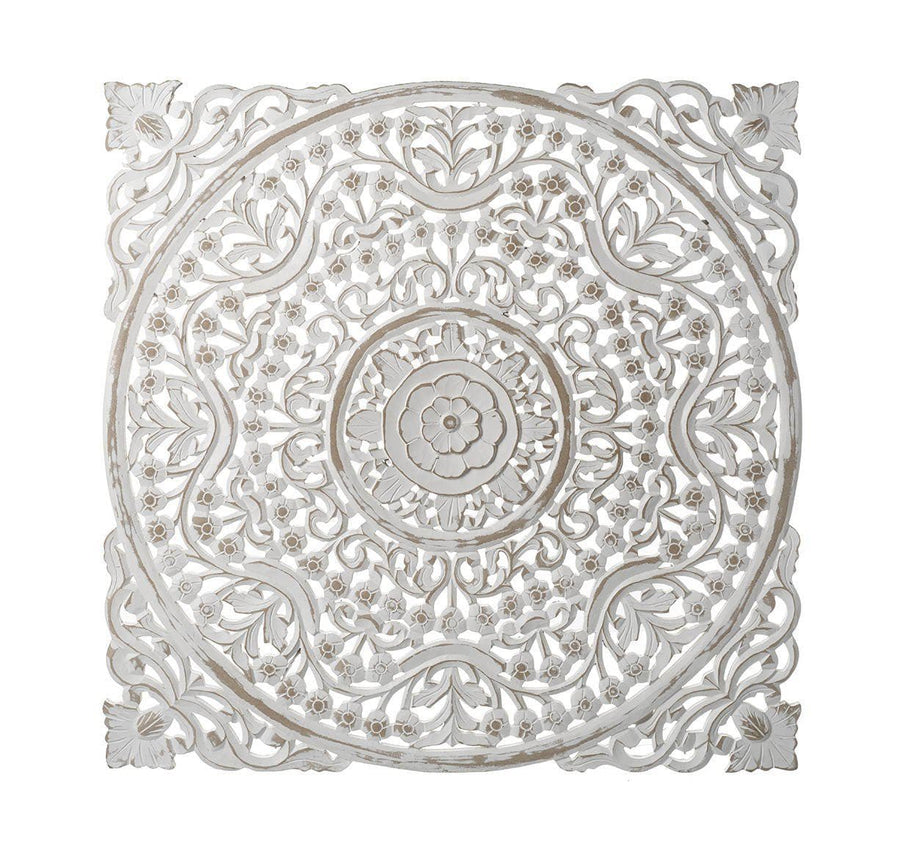 Whitewashed Carved Wood Wall Panel - medium