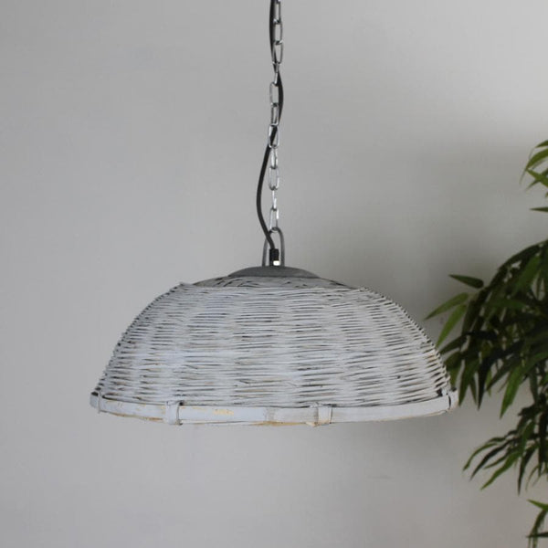 Washed Grey Rattan Pendant Light | The Farthing