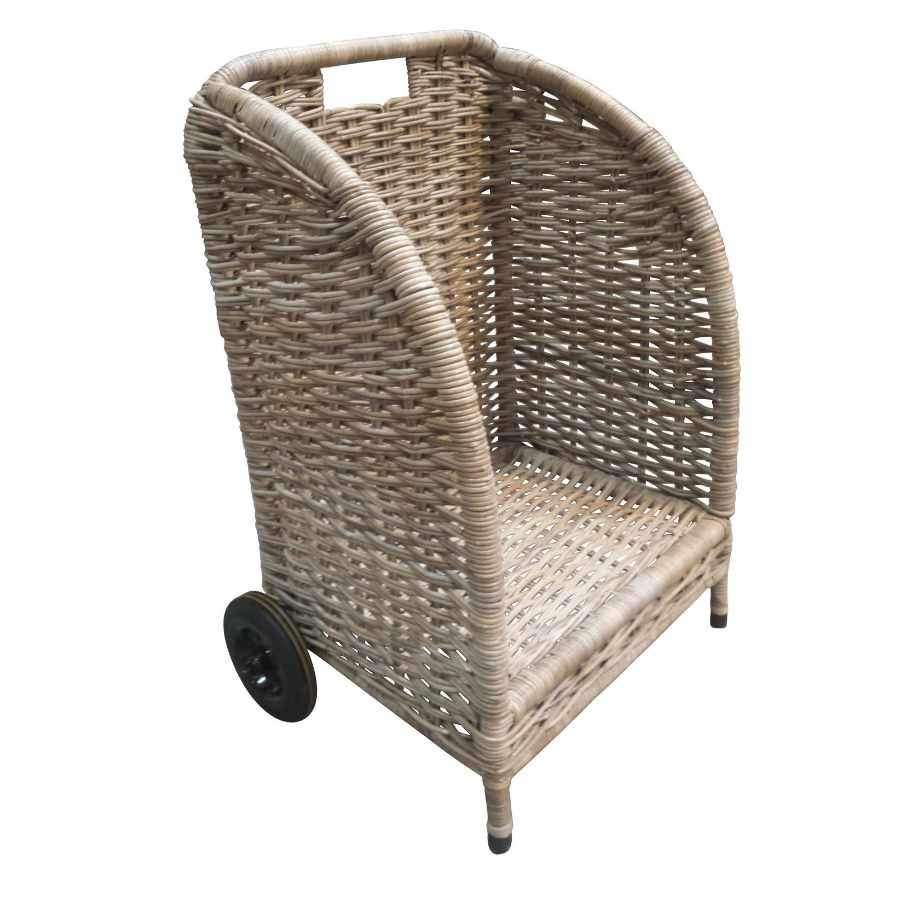 Large Wheeled Rattan Log Trolley