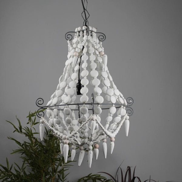 White Beaded Vintage Style Wooden Pendant Light 11