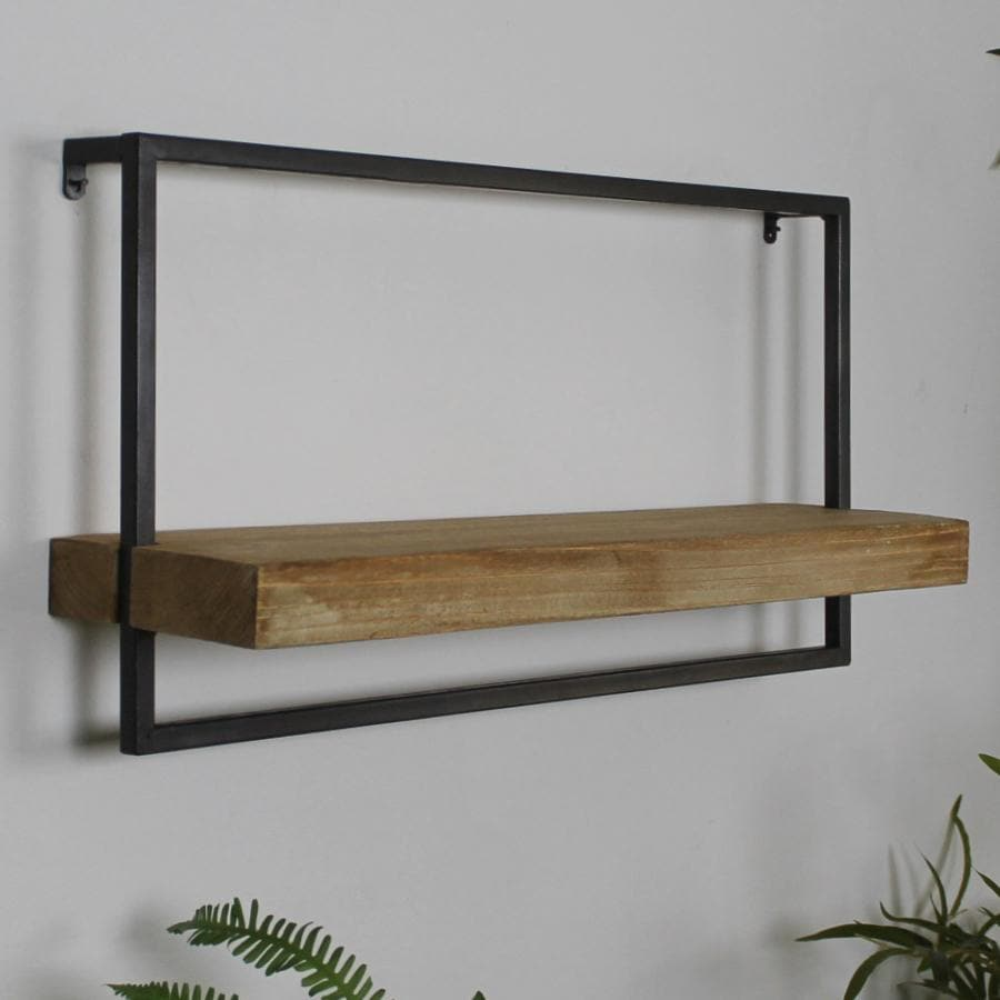 Rustic Wood & Metal Wall Shelf - Landscape at the Farthing