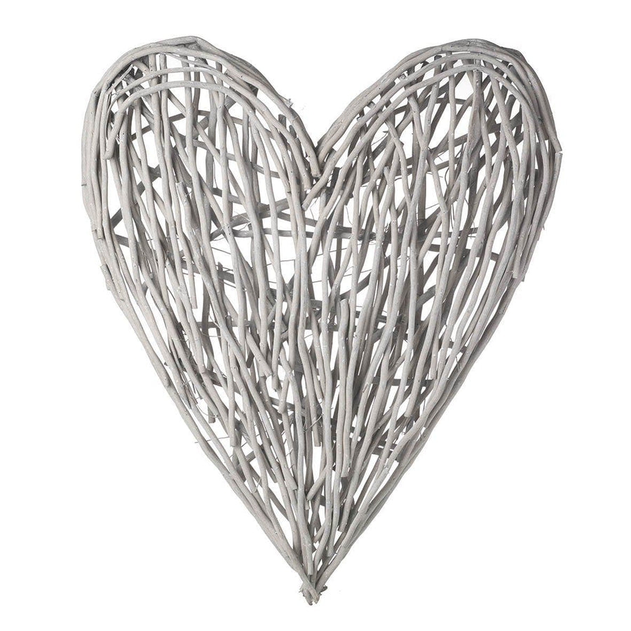 White Washed Willow Heart Wall Art