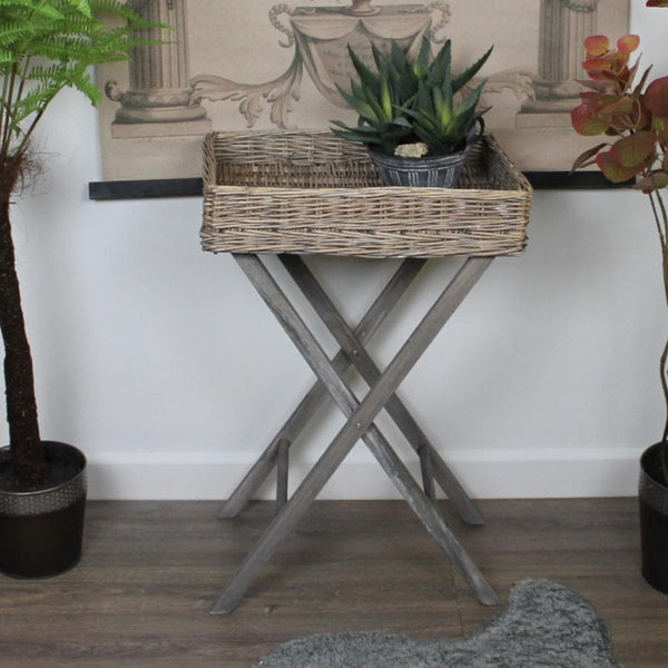 Rustic Willow Topped Tray Table at the Farthing 11