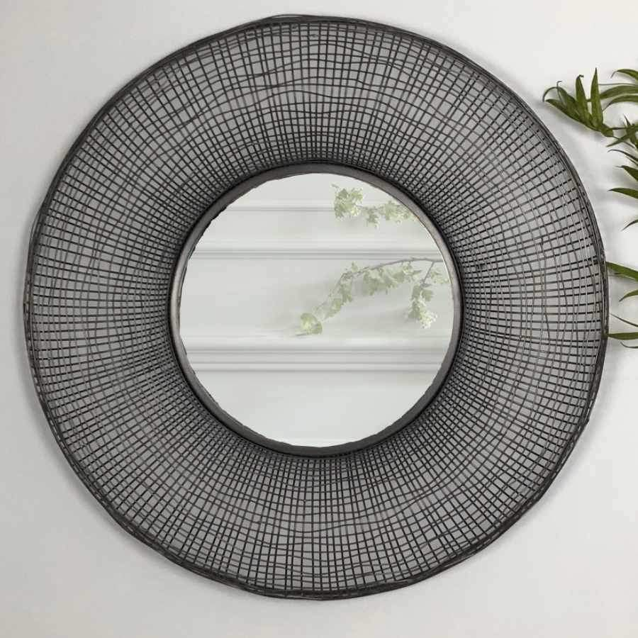 Round Industrial Metal Wire Wall Mirror | The Farthing