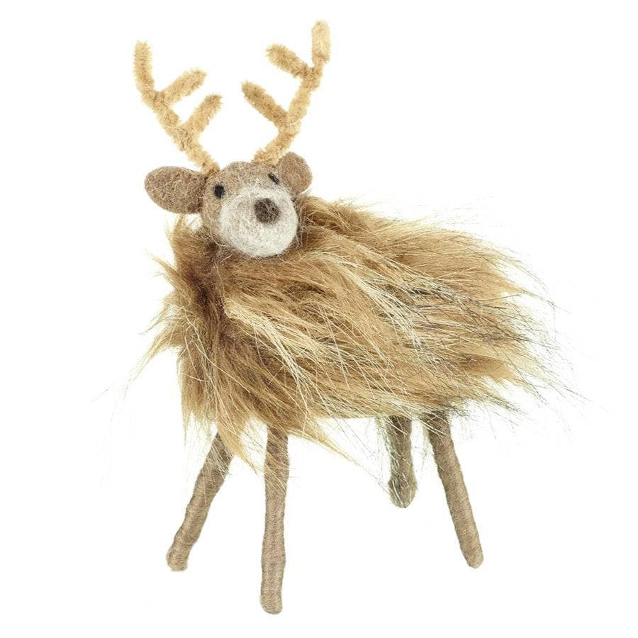 Wooly Brown Felt Reindeer Decoration - choice of size | The Farthing
