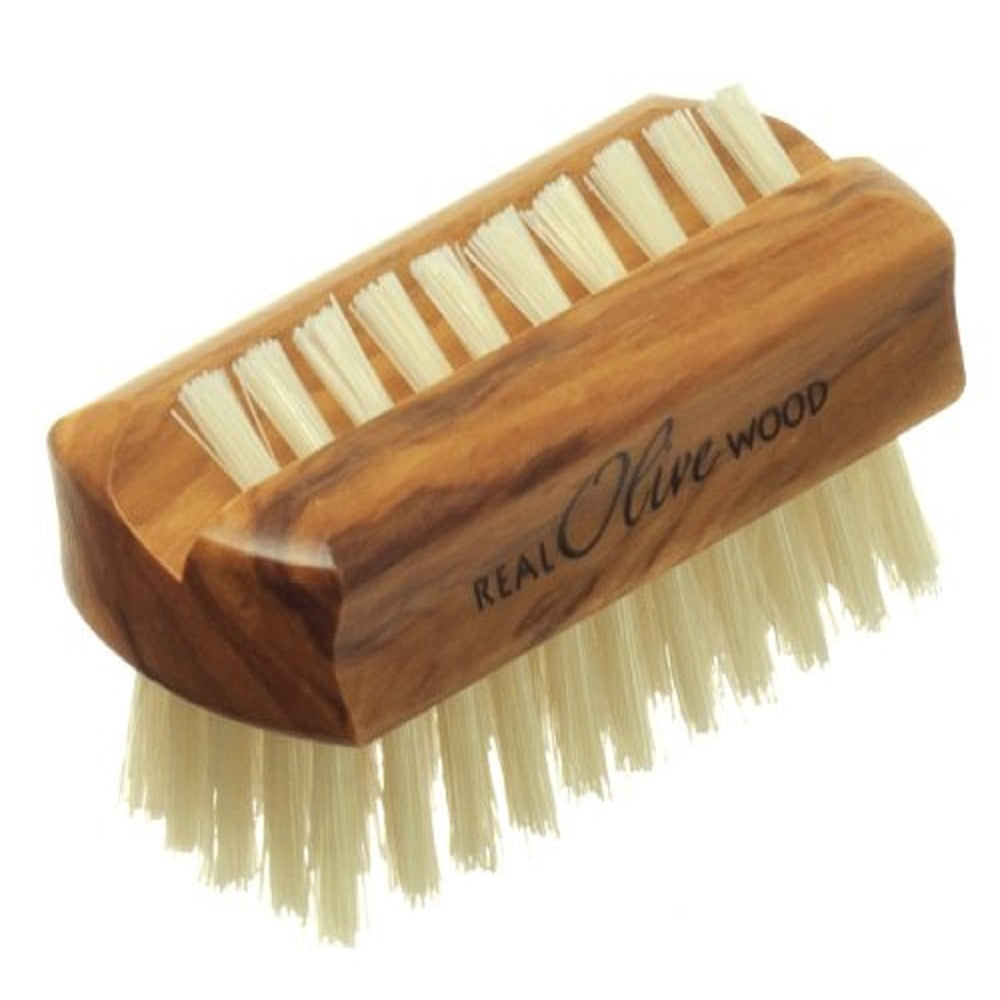 Hydrea London Olive Wood Nail Brush Pure Bristle Travel Size - Hard Strength