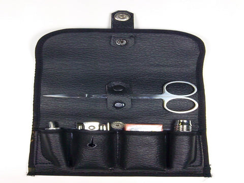Schöne Safety Razor Travel Kit with Scissors with leather Case