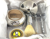 Schöne Premium Men's Shaving Set, Beautiful Bowl, Shaving Soap, Boar Badger Brush, Stand and Safety Razor, Great Gift Idea for Father Husband or Boyfriend, Beautiful Packed in a Well Presented Gift/travel Box