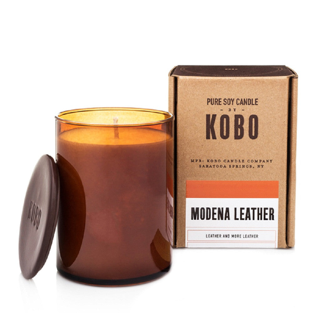 Kobo Modena Leather Soy Candle - Woodblock Collection
