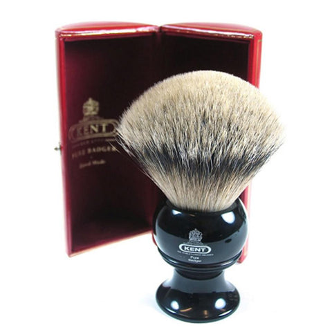Kent BLK12 Silver Tip Badger Shaving Brush, Black
