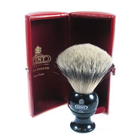 Kent BLK4 Silver Tip Badger Shaving Brush, Black