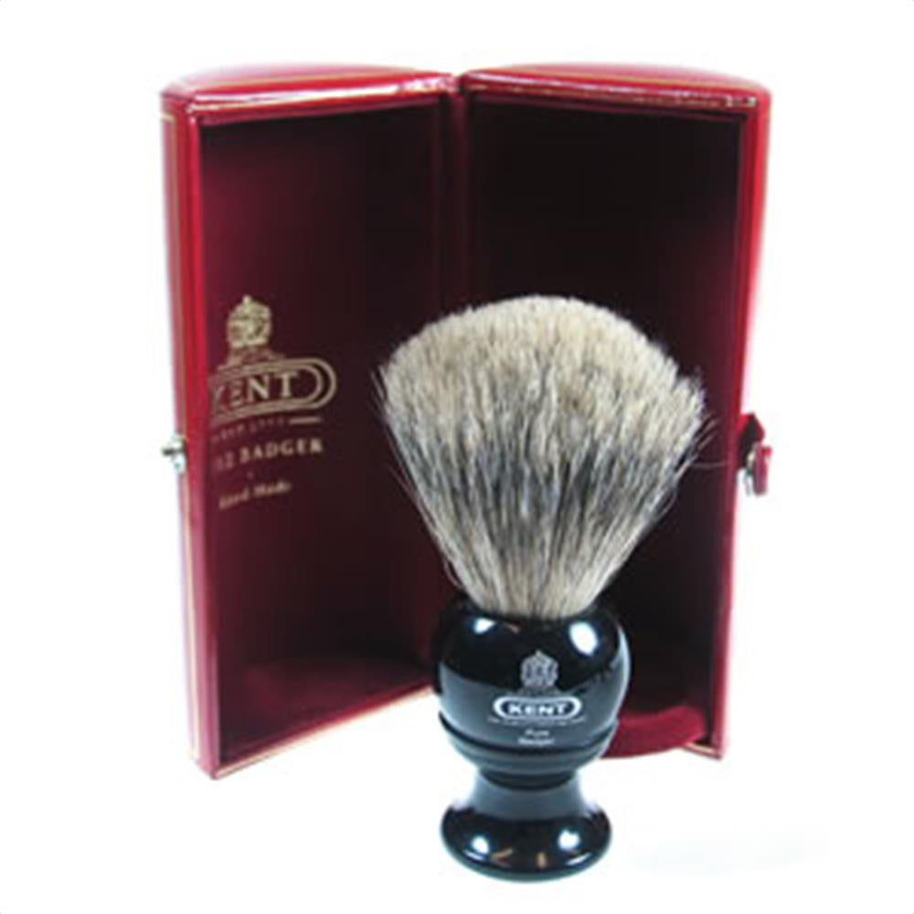 Kent BLK2 Pure Grey Badger Shaving Brush, Black
