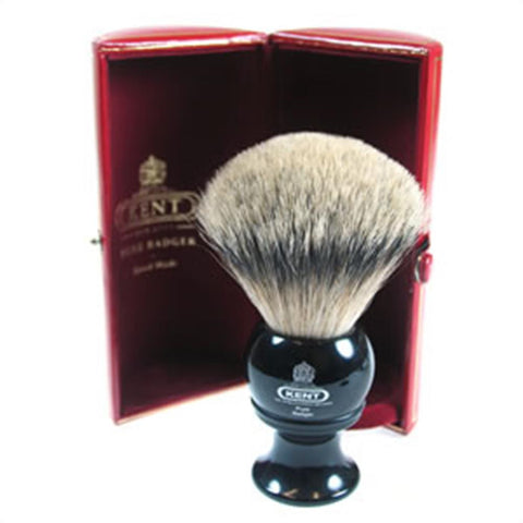 Kent BLK8 Traditional Silver Tip Badger Shaving Brush, Black