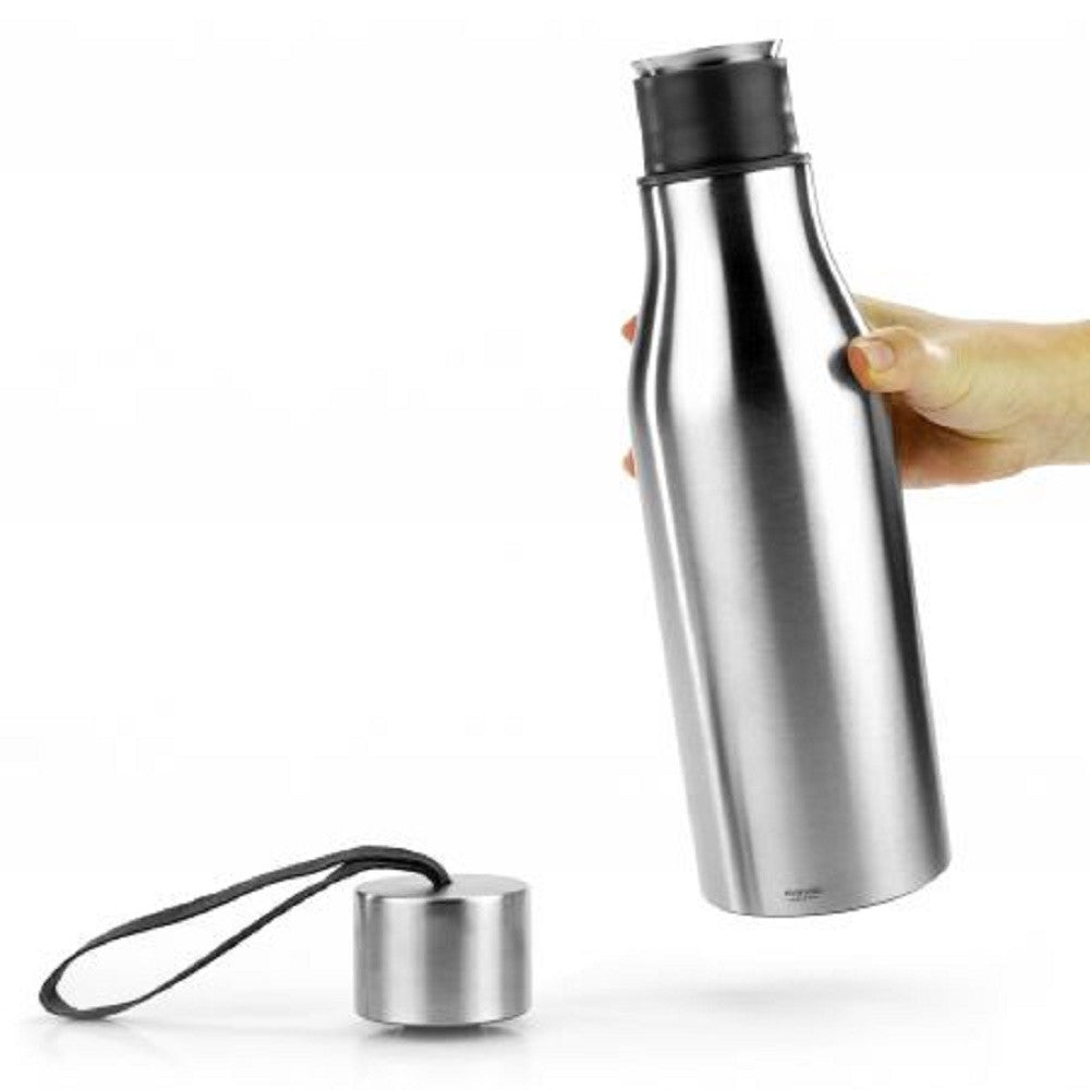 Eva Solo Thermo Water Bottle with Strap, Brushed Stainless Steel, 1/2-Liter