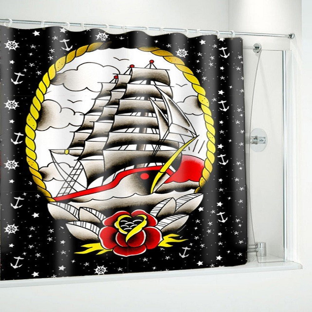 Sourpuss Clipper Ship Shower Curtain
