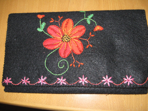 Embroidered felt purse