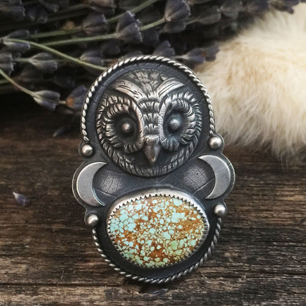 The Seer Ring is handcrafted from sterling silver and features a tightly webbed natural turquoise stone from the Blue Gem Mine.