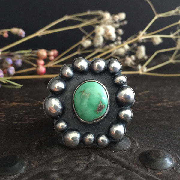 Natural green Carico Lake turquoise stone and sterling silver statement ring handcrafted by Osa Metal Studio