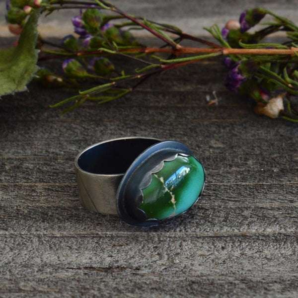 Handcrafted green Royston turquoise boho statement ring.  Osa Metal Studio specializes in jewelry handcrafted from silver and natural turquoise.