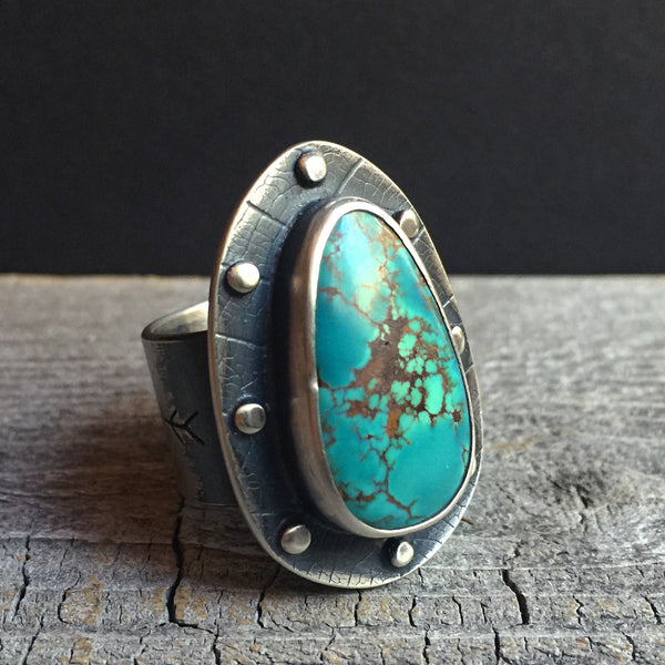 The Star Catcher Ring is handcrafted from sterling silver and natural Royston Mine turquoise by Nikki Leigh of Osa Metal Studio.