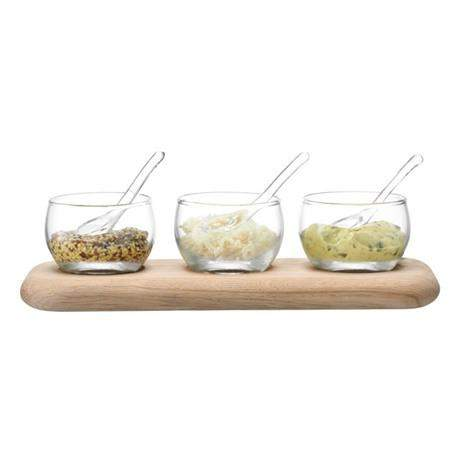 LSA Serve Condiment Set & Oak Base - Clear