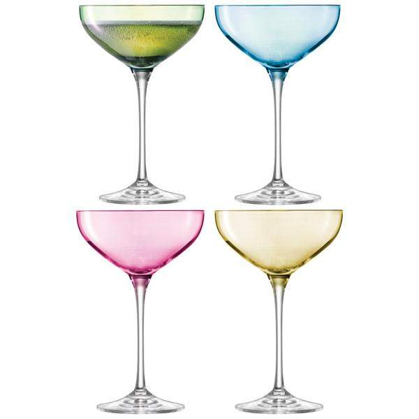 LSA International Polka Champagne Saucer 235ml Pastel Assorted x 4