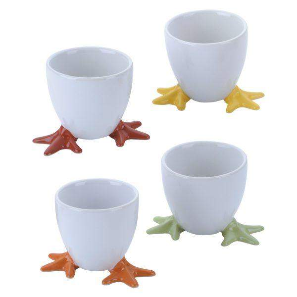 BIA International Set of 4 Chick Feet Egg Cup Multi