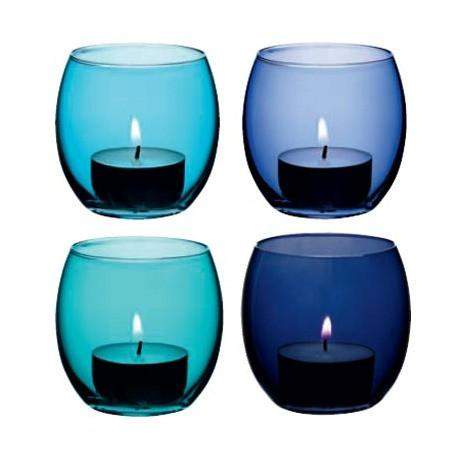 LSA Coro Tealight Holder - Lagoon Assorted - Set of 4