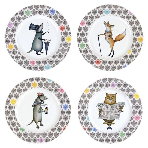 BIA International Clare Mackie Funimals Plates Set of 4