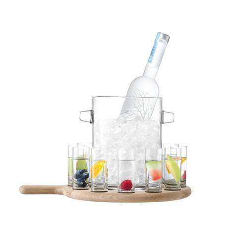 LSA Paddle Vodka Serving Set & Oak paddle - Clear - L38.5cm