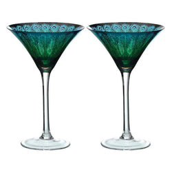 Artland Peacock Martini Glasses - Set of 2