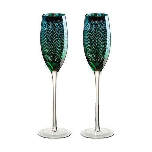 Artland Peacock Champagne Flutes - Set of 2