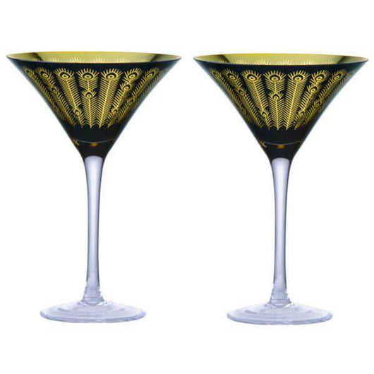 DRH Artland Midnight Peacock Cocktail Glasses
