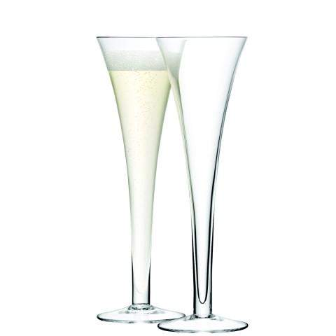 LSA Bar Hollow Stem Champagne Flute 200ml Clear x2