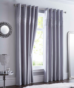 Shimmer Eyelet Curtains (168cm x 183cm) Silver Silver