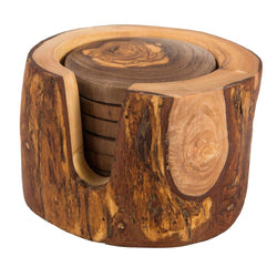 Divine Distribution Olive Wood 6 Coasters in Rustic Box