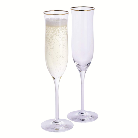 Dartington Celebrate Flute Gold Rim - Pair