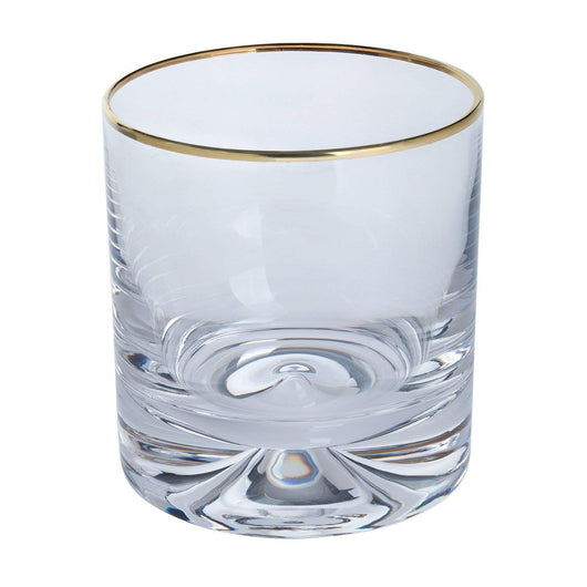Dartington Crystal Dimple Gold Double Old Fashioned Glasses Pair