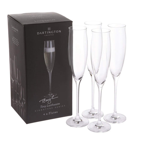 Dartington Crystal Tony Laithwaites Signature Series Flute Glasses – Set of 4, 195ml, Clear