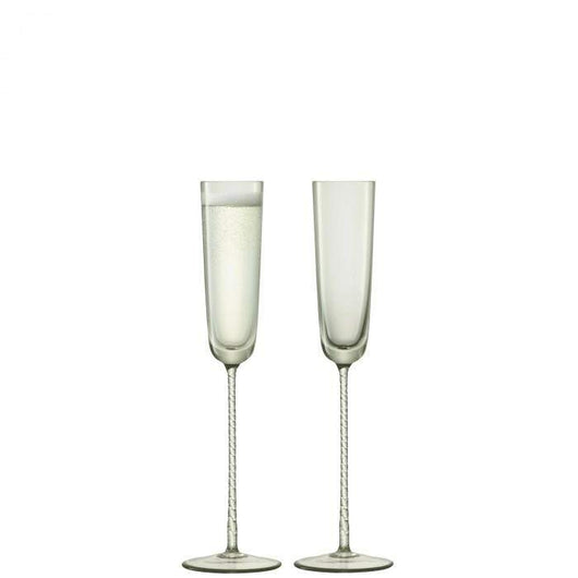 LSA International Champagne Theatre Champagne Flute 120ml Braid/Smoke Grey x 2