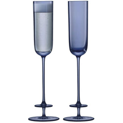 LSA International Champagne Theatre Champagne Flute 130ml Tier/Midnight Blue x 2