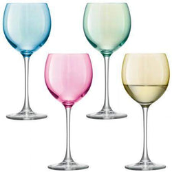 LSA International Polka Wine Glass - Pastel Assortment - Set of 4