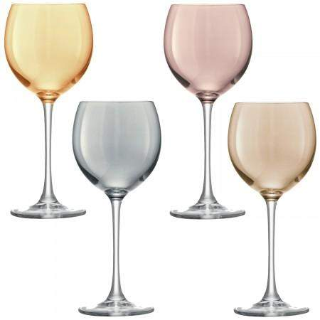 LSA Polka Wine Glass Metallic Assortment - Set of 4