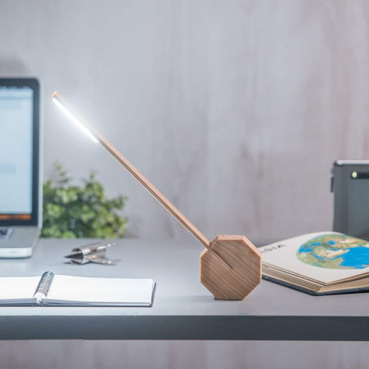 Gingko Octagon One Desk Lamp Maple