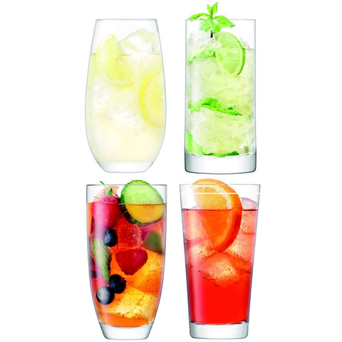 LSA International Lulu Highball 425-510ml Clear Assorted x4